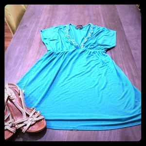 Swim coverup, turquoise with gold detail